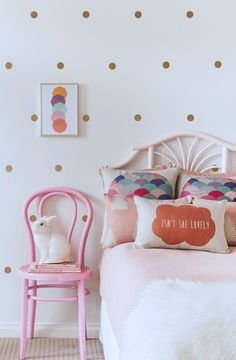 Did somebody say CUTE. Your little one will go ga ga over these stunning polka dot wall decals. ​Each decal is crafted using an ultra thin, high quality vinyl material which allows them to blend seamlessly into the wall. ​Easy peas​y installation and removable (not reusable) making them great for renters and commitment phobes.    Pack Includes: 80 x Gold Decals    + Easy to follow install instructions    Decal Size: Aprox 4cm in diameter