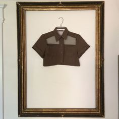 Vintage 1970's Olive Green Army Crop Blouse + Sheer Detail + Small on Etsy, $75.45