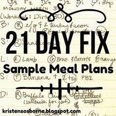 My 21 Day Fix Sample Meal Plans #dietmealplanspeople
