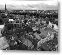 Roofs Of Luebeck_monochrome Metal Print by Marina Usmanskaya.  All metal prints are professionally printed, packaged, and shipped within 3 - 4 business days and delivered ready-to-hang on your wall. Choose from multiple sizes and mounting options.  The ancient Hanseatic city Luebeck in the north of Germany from a bird's eye view.