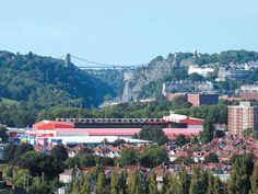 Ashton Gate Stadium, with the Clifton Suspension Bridge over the Avon Gorge in the background Wedding Venues Bristol, Bristol City Fc, Bristol Fashion, Tower Block, Sports Stadium, Beautiful Wedding Venues, Suspension Bridge, Paris Skyline, England