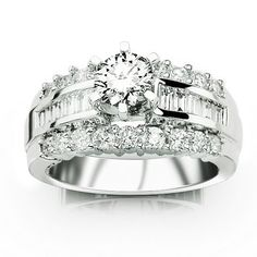 2.1 Carat IGI Certified 14K White Gold Channel Set Baguette and Round Diamond Engagement Ring