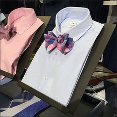 Colorful Dress Shirts with complimentary Bow Ties actively engage when presented by Angled Table-Top Pedestals. Acting like easels they elevate and orient the merchandise drawing shoppers cl… Easels, Bow Ties, Dress Shirts, Display Ideas, Acting, Retail, Bows, Colorful, Sign
