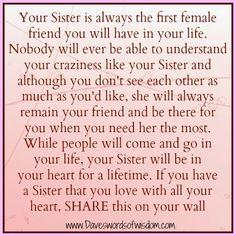 Daveswordsofwisdom.com: What Makes A Sister Special
