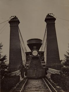Train and Engineer on Suspension Bridge, Niagara, ca. 1886 (by Museum of Photographic Arts Collections) Train Truck, Train Rides, Old Steam Train, Old Trains, Suspension Bridge, Steam Locomotive, Old Photos, Railroad Tracks, Cool Pictures
