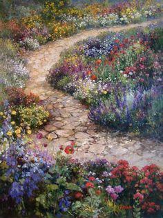 painting by Paul Guy Gantner Garden Painting, Garden Art, Art Floral, Beautiful Paintings, Beautiful Landscapes, Landscape Paintings, Watercolor Paintings, Renaissance Kunst, Victorian Gardens