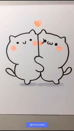 Cute Easy Doodles, Easy Doodles Drawings, Cute Doodle Art, Art Drawings Sketches Simple, Cute Art, Cute Drawings Of Love, Cute Kawaii Drawings, Valentine Drawing, Animal Line Drawings
