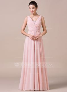 A-Line/Princess V-neck Floor-Length Chiffon Bridesmaid Dress With Ruffle Lace (007057733)