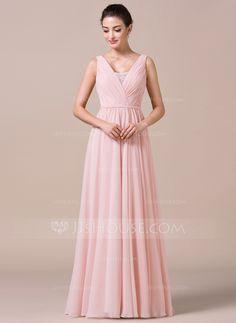 A-formet/Prinsesse V-hals Gulvlengde Chiffong Brudepikekjole med Frynse Blonder (007057733)