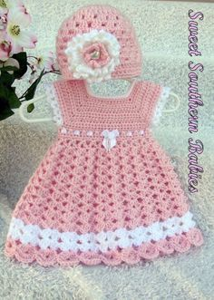 Baby Girl's Pink Dress with Matching Hat by SweetSouthernBabies - Baby Girl Dress - Ideas of Baby Girl Dress - Baby Girl's Pink Dress with Matching Hat by SweetSouthernBabies Crochet Princess, Baby Girl Crochet, Crochet Baby Clothes, Crochet For Kids, Crochet Tutu, Crochet Dresses, Baby Girl Pink Dress, Baby Dresses, Baby Girls