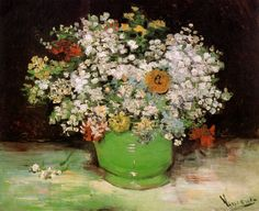 Vincent. Vase with Zinnias and Other Flowers. Paris 1886