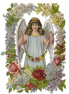 Victorian Die Cut Scrap Large Angel Surrounded with Red, Blue, and White Flowers: