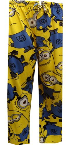 Aren't the Minions adorable? There are lots of the little guys with funny expressions featured on these Despicable Me 2 lounge pants for men. These 100% cotton knit pajama pants have a covered elastic waist, with a drawstring and a button fly. Every minion is special, right?