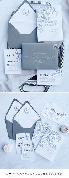 Grey Wedding Invitations, Wedding Invitation Samples, Elegant Invitations, Wedding Stationery, Personalised Rubber Stamps, Event Signage, Wedding Mood Board, Gray Weddings, Glamorous Wedding