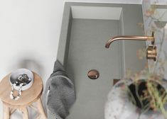 Let us help you create your dream bathroom, from custom floorplans to bathroom furniture visualization. Concrete Sink, Concrete Countertops, Grey Cabinets, Wooden Cabinets, Grey Bathrooms, Master Bathroom, Gold Faucet, Diy Bathroom Remodel, Bathroom Furniture