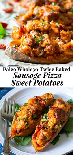 Healthy Dinner Recipes 89647 These are the ultimate Paleo and Twice Baked Sweet Potatoes! With an addicting filling that tastes just like sausage pizza, they're a great weeknight dinner (perfect for meal prep!) healthy, filling, and kid friendly. Twice Baked Sweet Potatoes, Paleo Sweet Potato, Sweet Potato Recipes, Meal Prep Sweet Potatoes, Sweet Potato Pizza, Paleo Recipes, Healthy Dinner Recipes, Whole Food Recipes, Recipes
