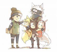 iruka, hound kakashi, fox naruto, cat sasuke, bunny sakura