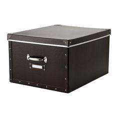 FJÄLLA Caja con tapa, marrón marrón 40x56x28 cm