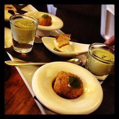 Day #195 - incredible canapés @ABodeExeter - leek & potato soup, goats cheese & pesto mousse, deep-fried ham hock