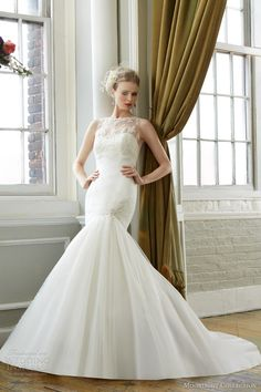 moonlight collection fall 2013 wedding dress style j6280 sleeveless illusion neckline mermaid