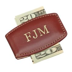 Our genuine leather money clip has magnets embedded in each side beneath the rich, brown leather, which allows this money clip to securely hold your money. Detailed stitching runs around the edge of the clip. L x W when closed. Money Clip Card Holder, Money Clip Wallet, Money Clips, Leather Gifts, Groomsman Gifts, Creative Gifts, Groomsmen, Fathers Day Gifts, Gifts For Him