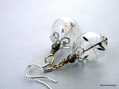 Ohrringe Pusteblume in Glaskugel 925 Silber von Sara´s Charms auf DaWanda.com