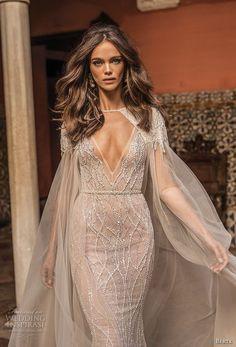 berta fall 2018 bridal sleeveless deep v neck full beaded embellishment elegant glamorous sheath wedding dress low open back sweep train (13) mv -- Berta Fall 2018 Wedding Dresses