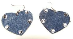 Denim Earrings  Hearts and Jewels by bagsbyhags45 on Etsy, $4.50 #handmadec