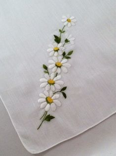 Vintage Handkerchief Embroidered Wedding by MyVintageHankies Handkerchief Embroidery, Hand Embroidery Flowers, Ribbon Embroidery, Cross Stitch Embroidery, Embroidery Patterns, Embroidered Bedding, Punch Needle Patterns, Vintage Handkerchiefs, Flower Girl Gifts