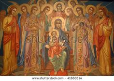 Virgin Mary with baby Jesus and choir of angels - stock photo