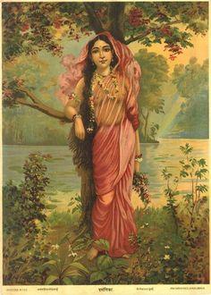 Vasantika - or Goddess of Spring - Raja Ravi Varma