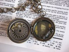 Steampunk style locket with old photo