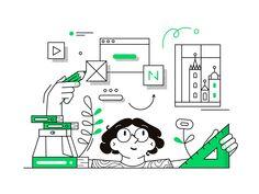 Netguru College: Design by Netguru Line Illustration, People Illustration, Vector Design, Vector Art, Graphic Design, Flat Design, App Design, Illustrations And Posters, Wireframe