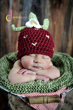 Custom Order Crochet Strawberry Hat/photo prop by Snipitsink