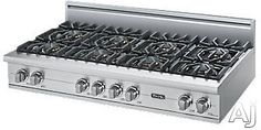 """Viking VGRT5488B 48"""" Pro-Style Gas Rangetop with 8 VSH Pro Sealed Burners, VariSimmers, PowerPlus 18,500 BTU Burner, Automatic Re-Ignition System and Stainless Steel Knobs"""