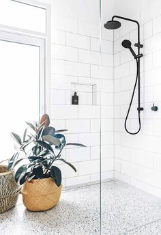 Terrazzo: The trend that isn't going away. Meet the minimalist pattern we are mad about this spring. With its subtle pastel tones and infinite variations, Terrazzo is the perfect way to introduce… Scandinavian Bathroom Design Ideas, Bathroom Interior Design, Modern Interior, Coastal Interior, Modern Coastal, Zen Bathroom, Bathroom Goals, Bathroom Ideas, Bathroom Inspo