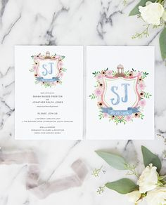 Our Watercolor Crest wedding invitation features a completely custom watercolor crest made just for you.