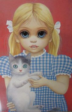 Big Eyes Gingham Girl with Cat by Margaret Keane