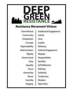 We're building a culture of resistance that embraces these values. You can join Deep Green Resistance if you're ready, volunteer for DGR if you want to help with any of our projects, or work on your own. To that end, here is a not-even-remotely-exhaustive list of some aboveground entry points to the grand strategy:  http://deepgreenresistance.org/get-involved/take-action