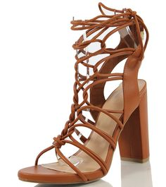 Wild Diva Women's Morris 11 Open Toe Gladiator Strappy Cage Lace Up Ankle Tie Chunky Heel >>> Tried it! Love it! Click the image. : Gladiator sandals