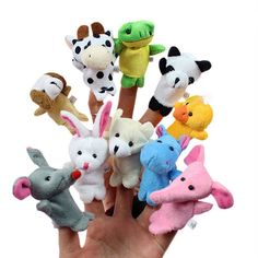 Baby Plush Finger puppets Various Animals 10 piece sets doll kids youth child nursery development story book