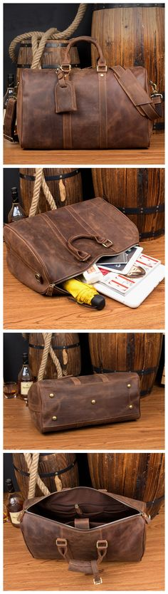 Leather Duffle Bag, Leather Luggage, Leather Bags Handmade, Handmade Bags, Fashion Handbags, Fashion Bags, Best Bags, Leather Projects, Online Bags