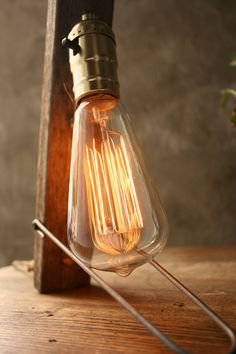 Industrial Light Wood Lamp Cool Gifts for Men Industrial Lighting Shabby Chic Edison Bulb Lamp - Weathered Wood and Marconi Filament Bulb