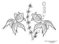 水草と金魚の柄の浴衣の塗り絵の下絵、画像