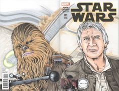 Star Wars #1 Blank Variant Cover Han & Chewy Artwork by Artist Rodney Fyke