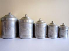 Vintage Canister Set - French - Aluminium, silver ,set of 5. $84.00, via Etsy.