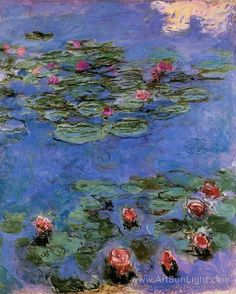Red Water-Lilies 1914-1917 Artist: Monet, Claude Oscar (French 1840-1926) Impressionist Painter.