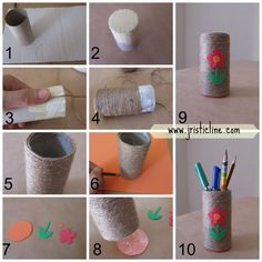 DIY: pencil holder of recyclable materials (cardboard from a roll of toilet paper). It's very easy and interesting ....