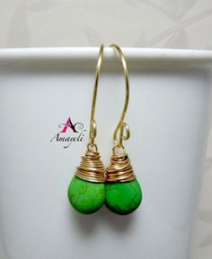 Green and gold brass wire wrapped earrings by Amayeli on Etsy, $18.00