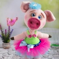 Вязаные игрушки Надежды Бияновой Crochet Pig, Crochet Animals, Crochet Hats, Cute Illustration, Tweety, Animals And Pets, Dolls, Knitting, Amigurumi